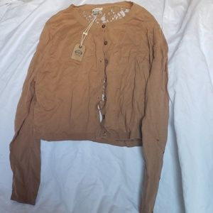 Fossil Brown/Tan Cardigan with Lace